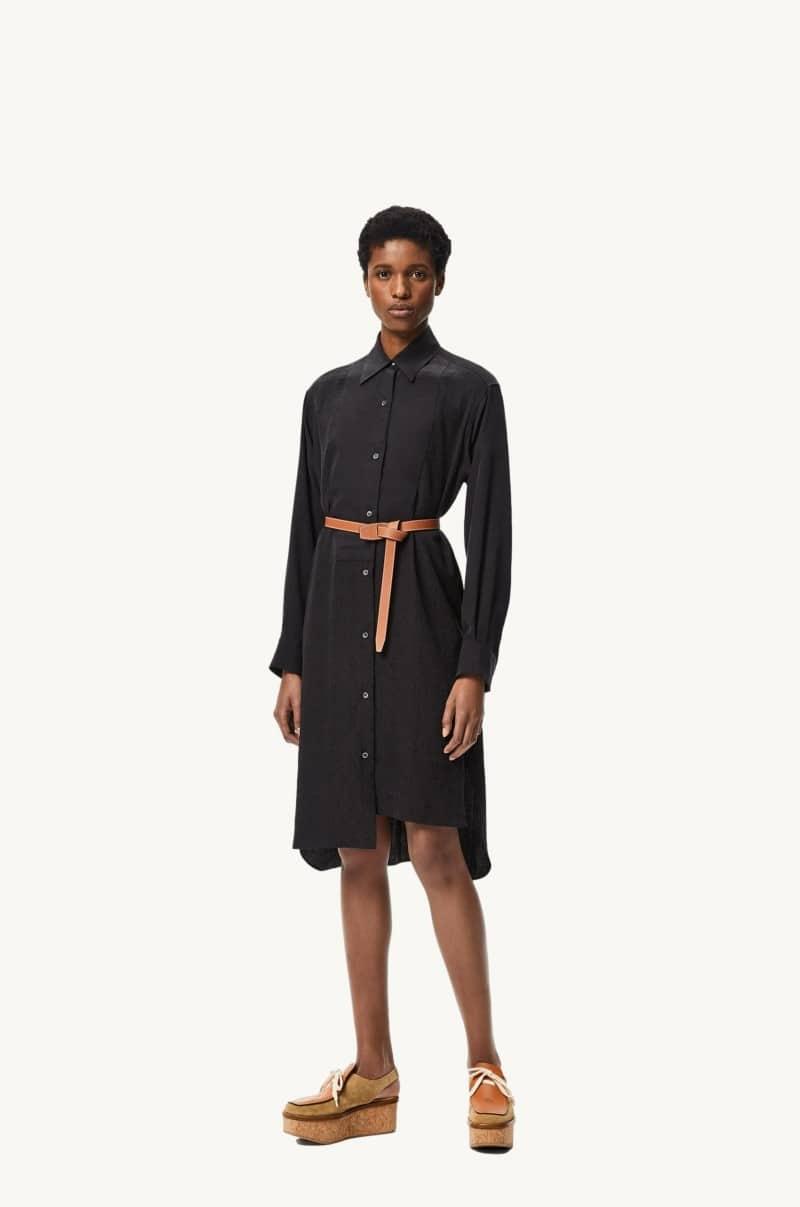 Black silk Anagram jacquard shirt dress