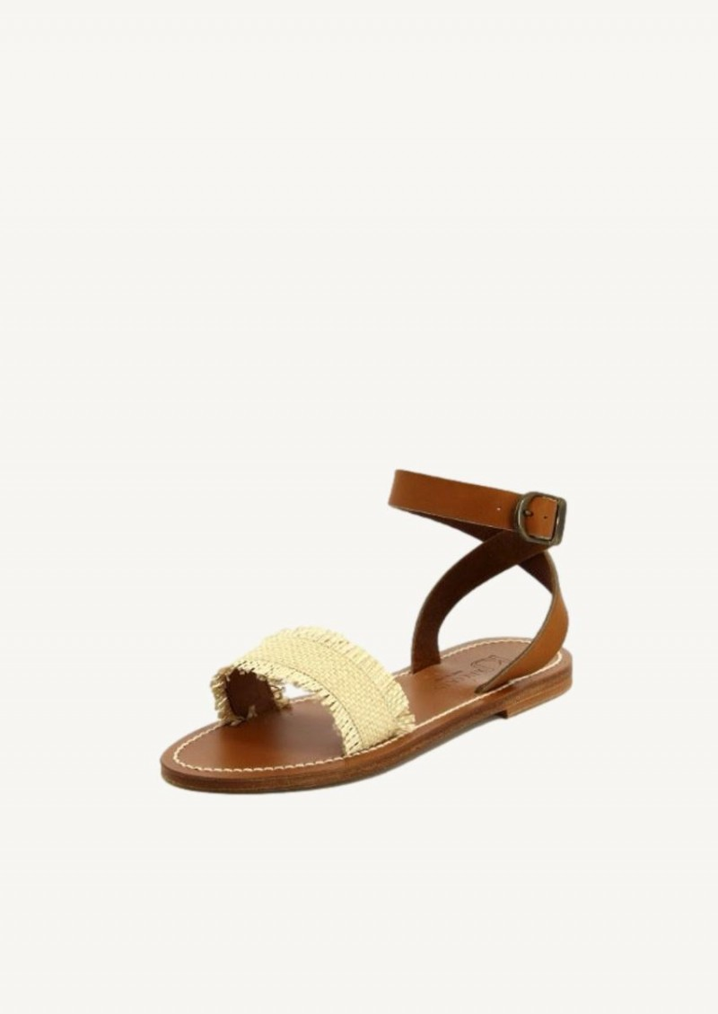 Raffia and natural pul leather Assouan sandals