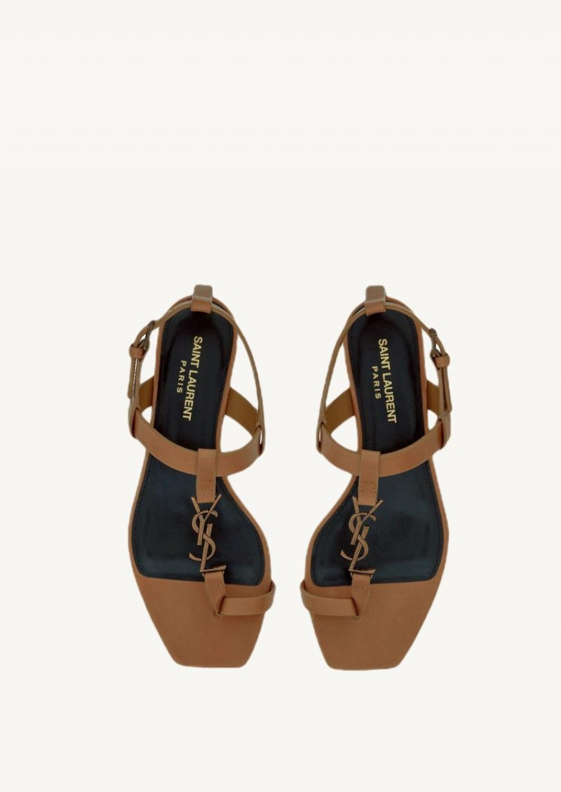 Tan Cassandra sandals in smooth leather and gold monogram