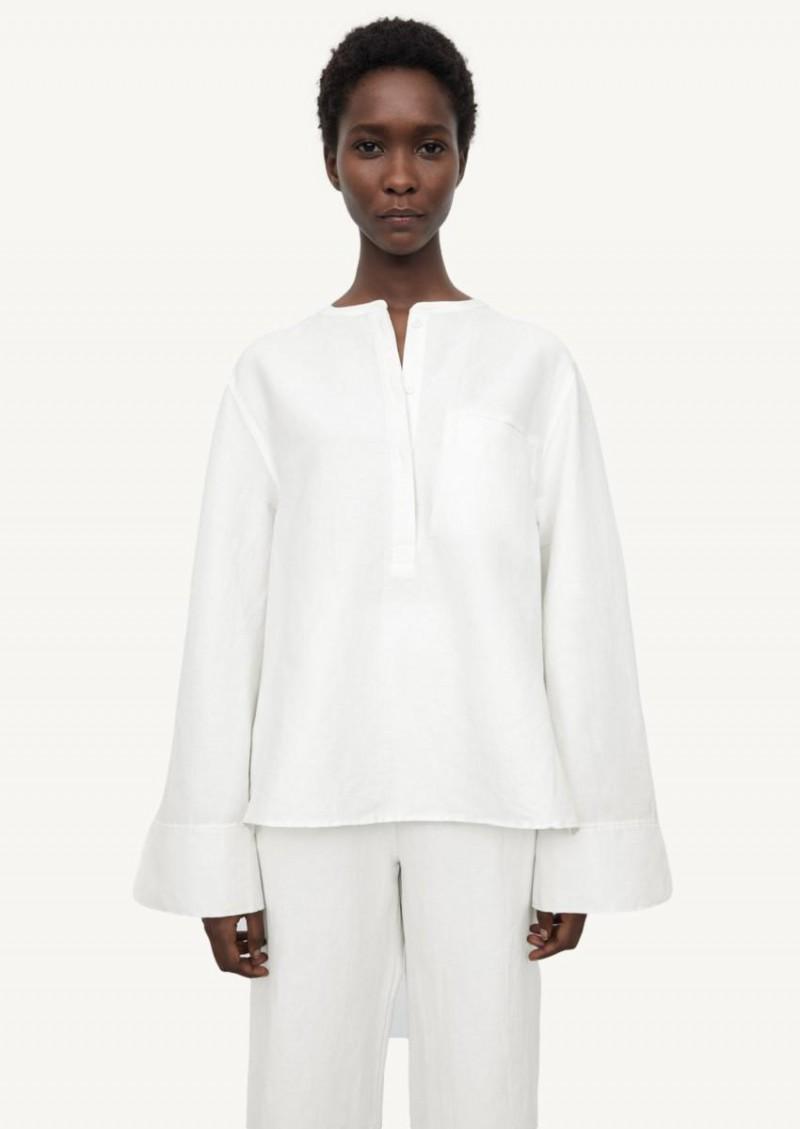 White city linen half-button shirt