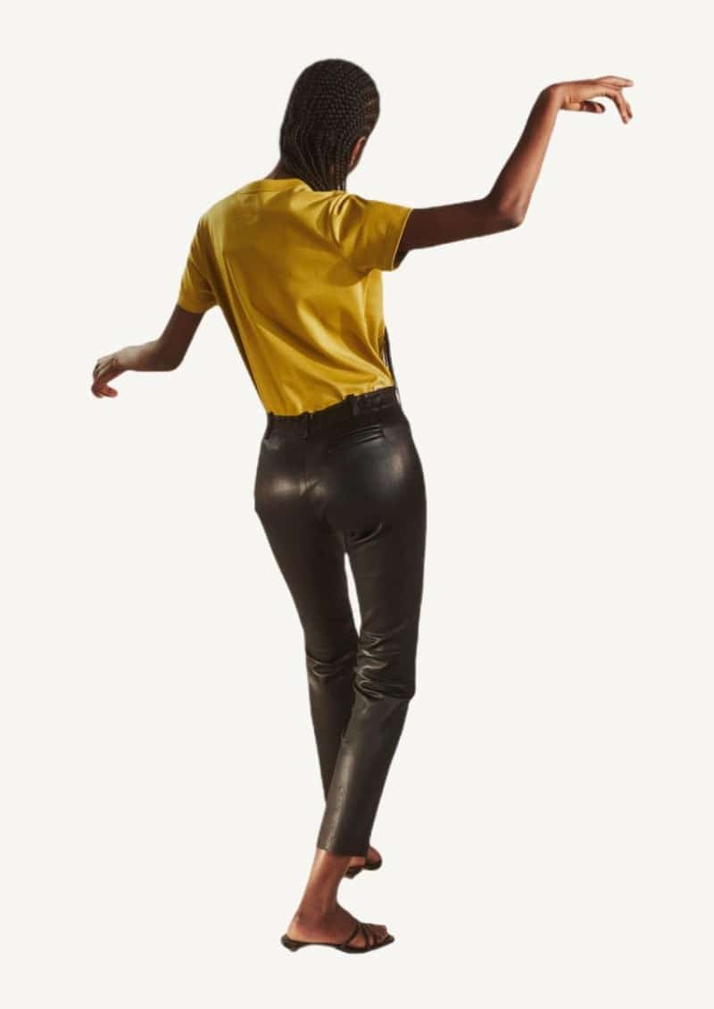 Black Mick stretch-leather cropped pants