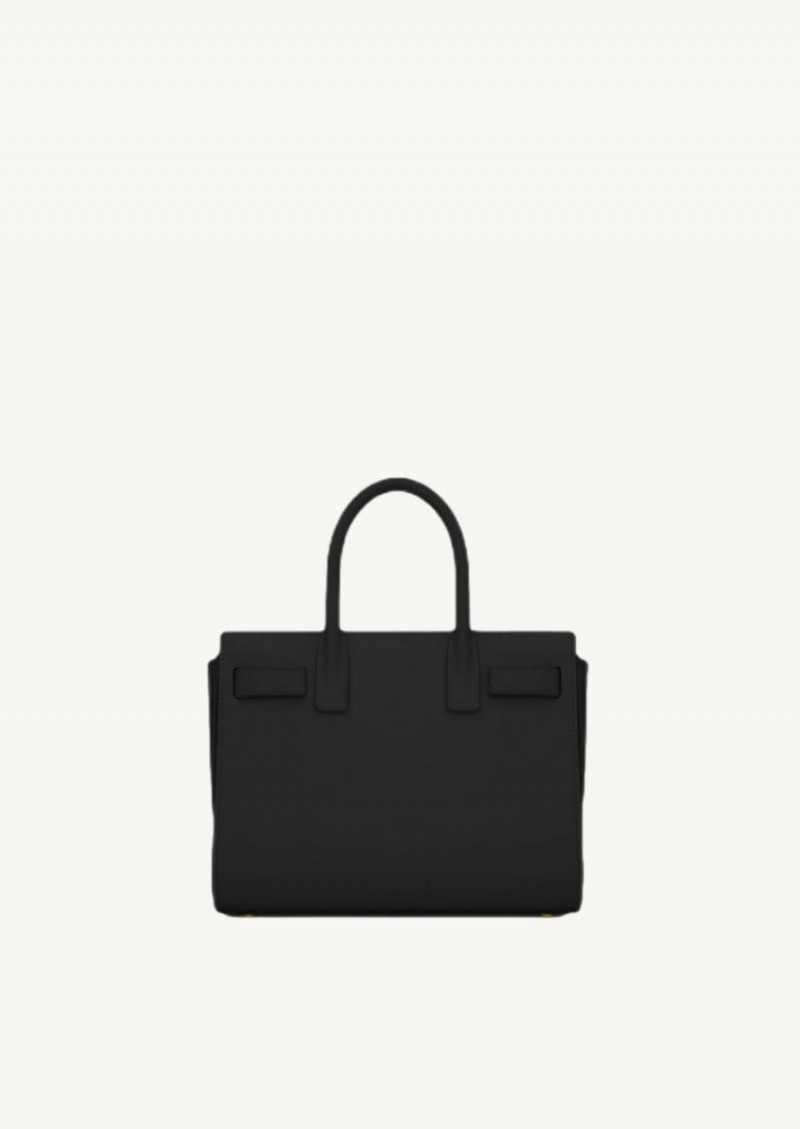 Black classic baby day bag in smooth leather