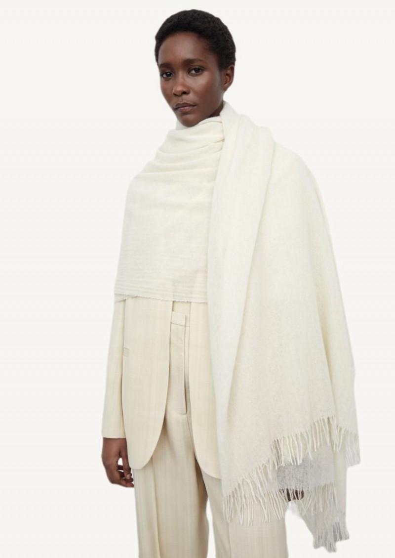 Écharpe couverture en cachemire off white