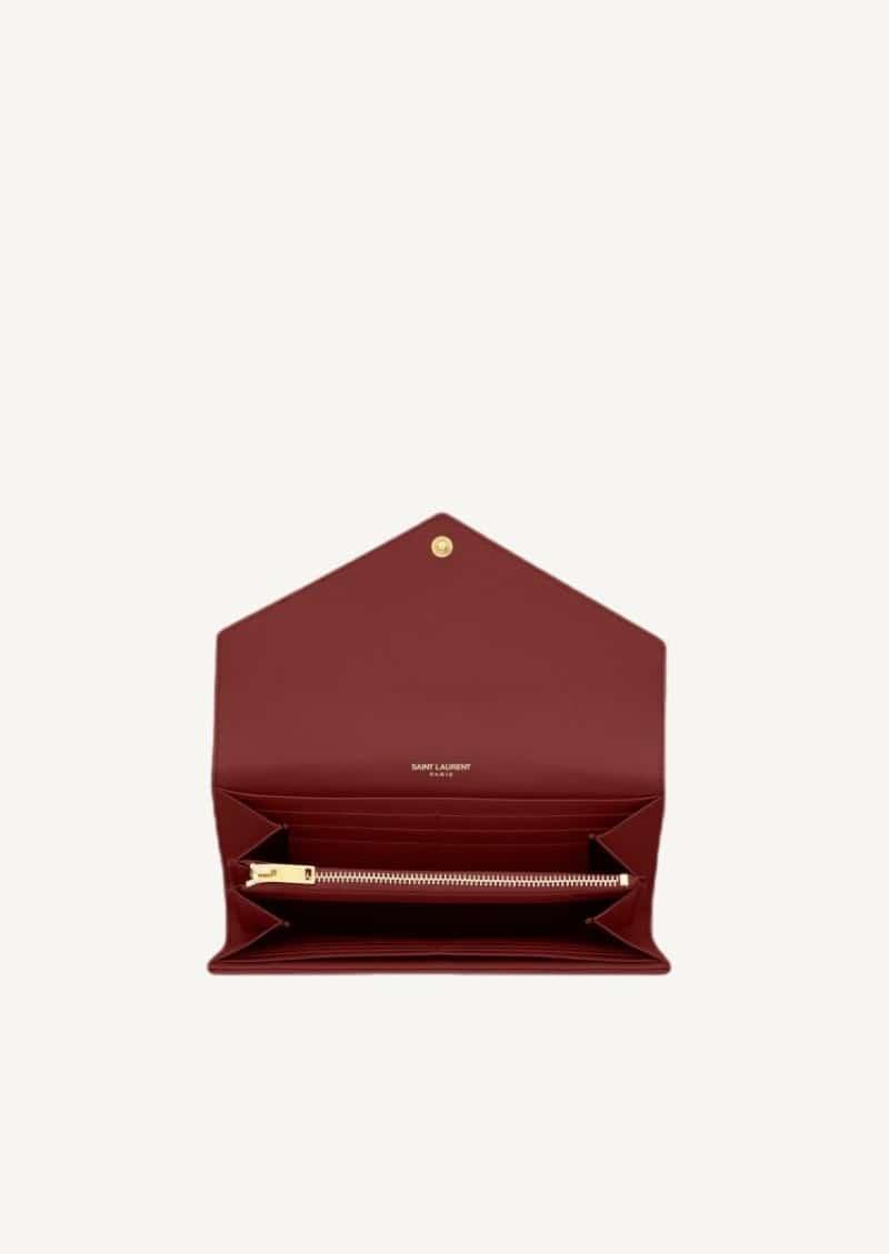Grand portefeuille en cuir rouge opyum