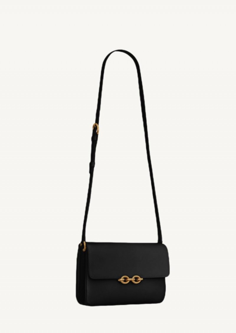 Black Satchel link in smooth leather