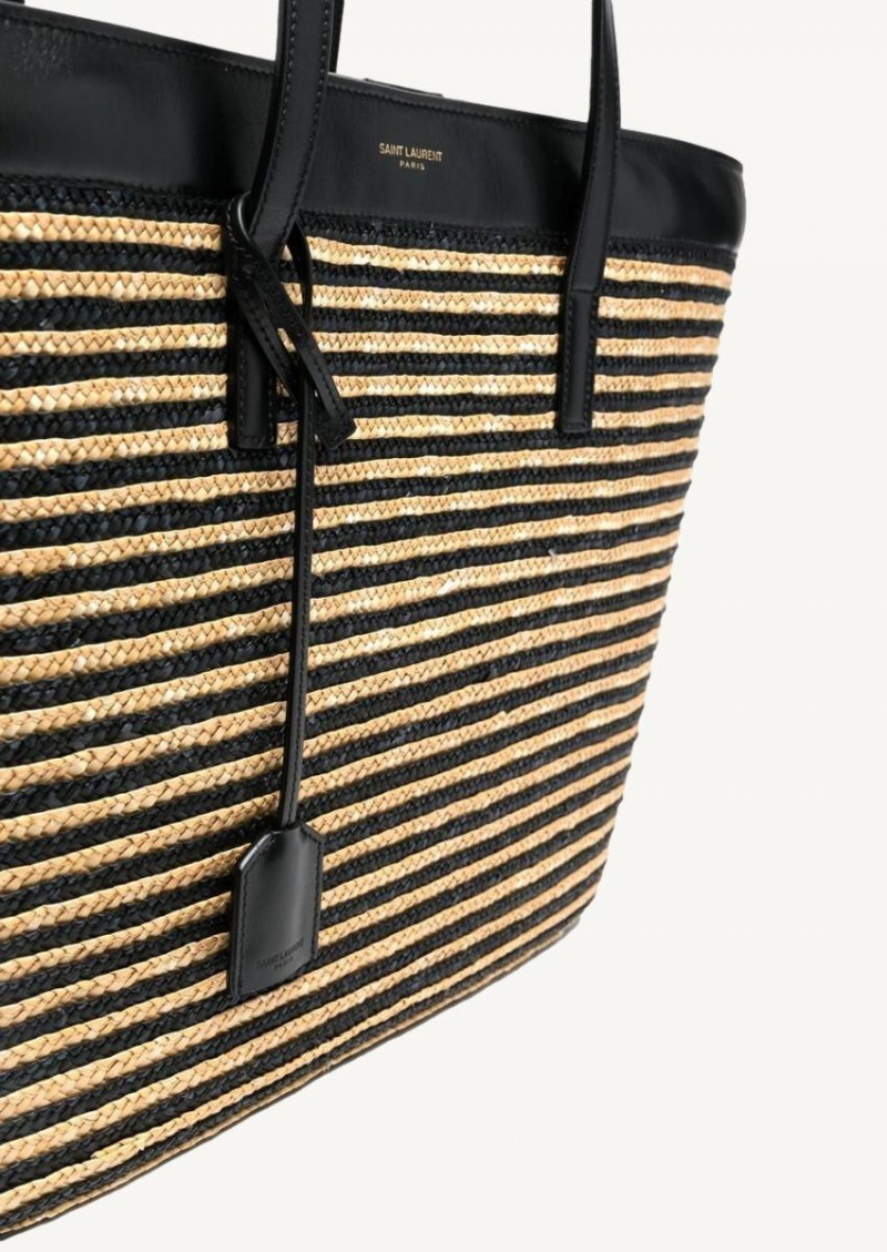 Straw and black woven striped tote bag