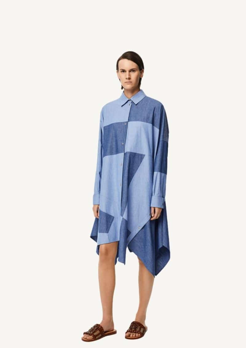Blue oversize patchwork dress in cotton