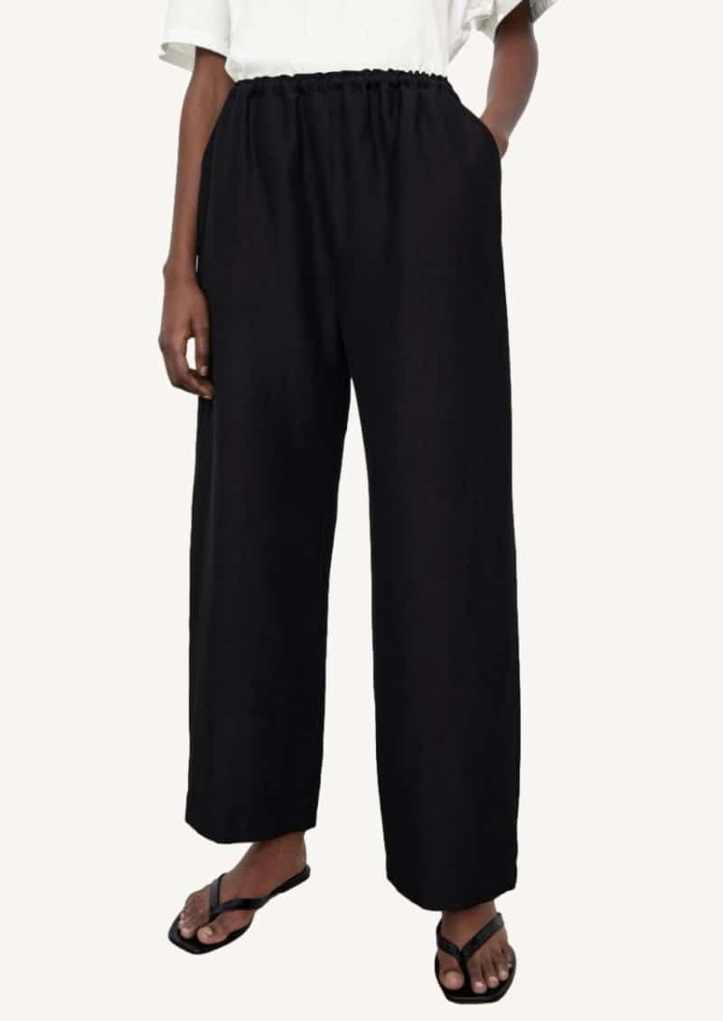 Black stretch linen pants