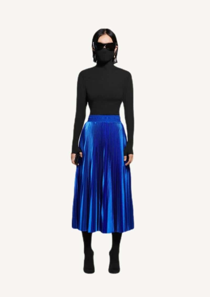 Royal blue pleated Tracksuit skirt in jersey