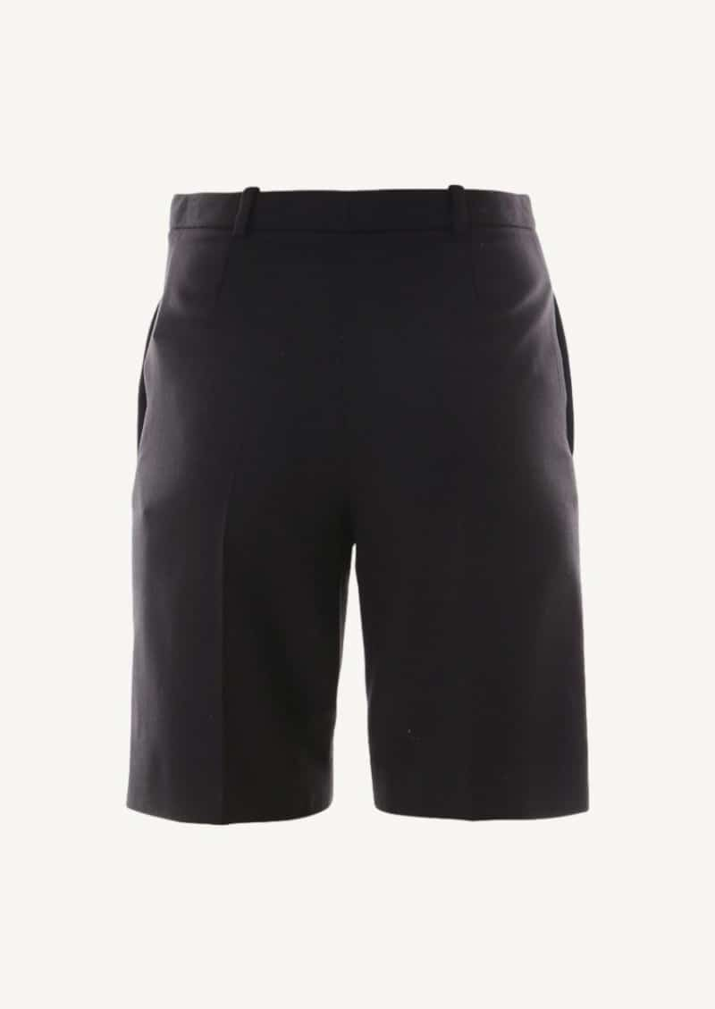 Black cropped pants in wool twill