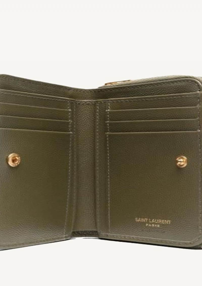 Kaki and gold Monogram compact zipped wallet in leather