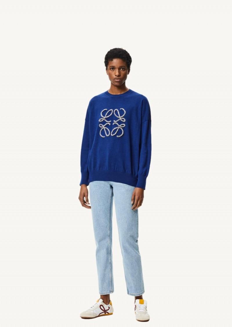 Navy indigo dye Anagram embroidered sweater in wool