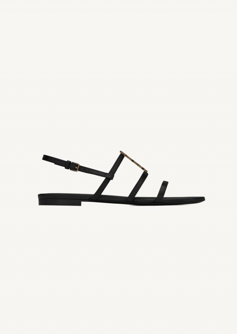 Black Cassandra slippers in smooth leather with gold monogram