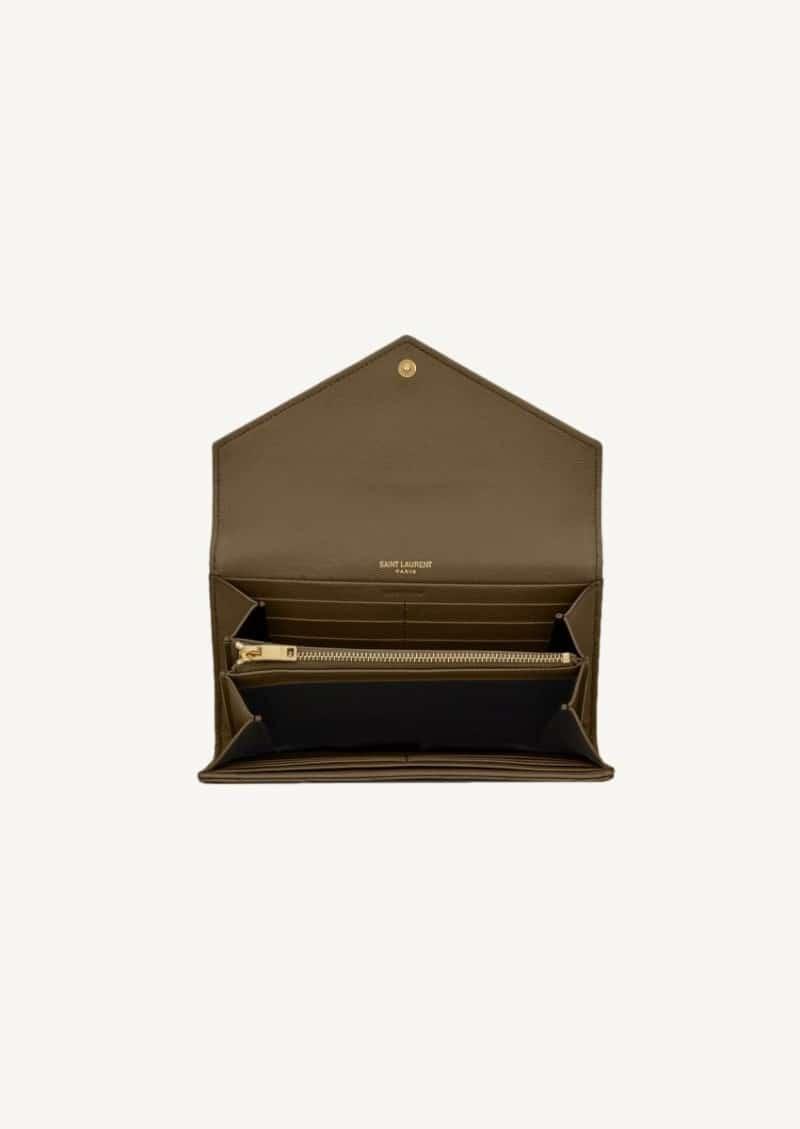 Grand portefeuille à rabat khaki et doré