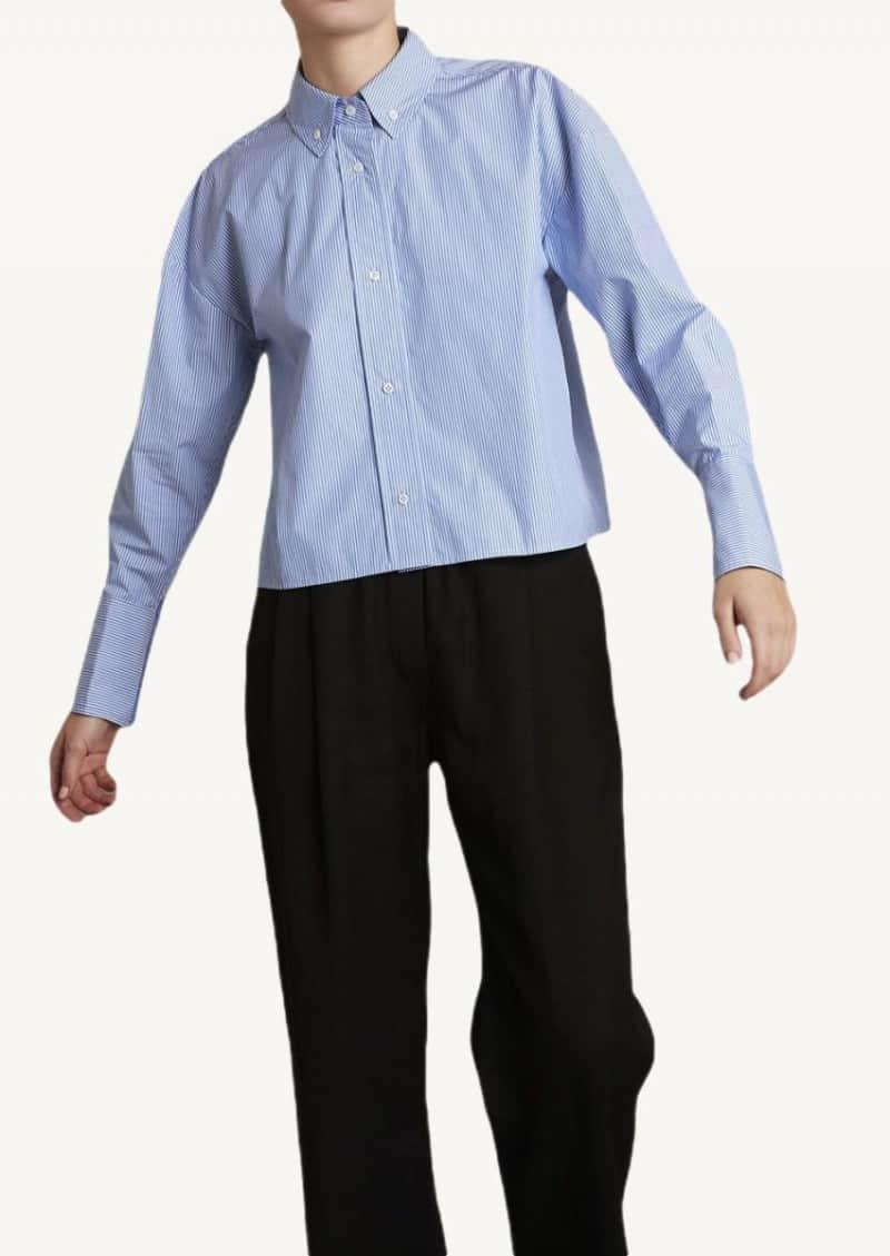 Blue and white Pulau Stripe cotton shirt