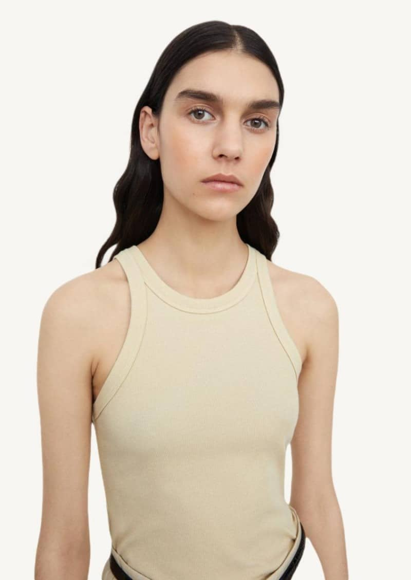 Champagne ribbed tank