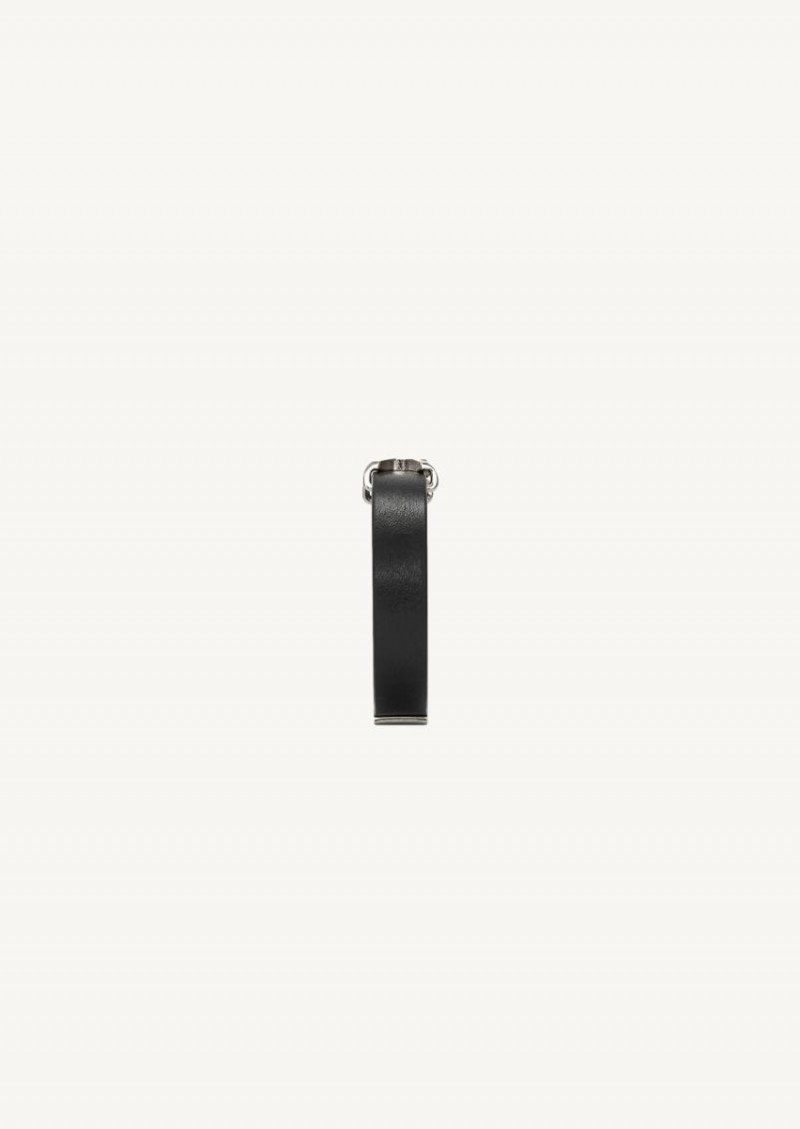 Opyum black leather strap with silver finish