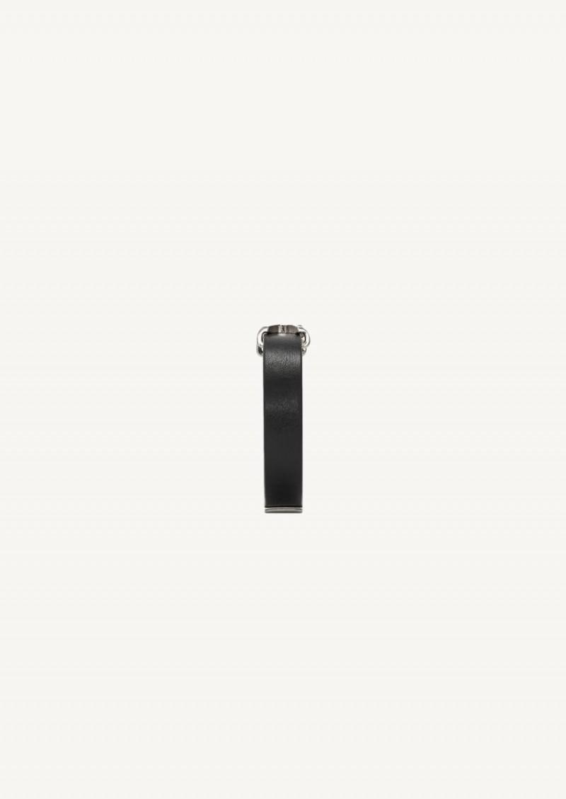Opyum bracelet en cuir noir finition argent