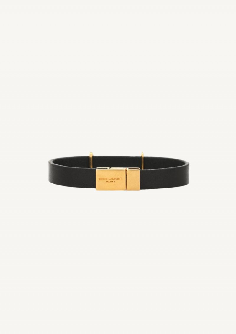 Opyum black leather strap with gold finish