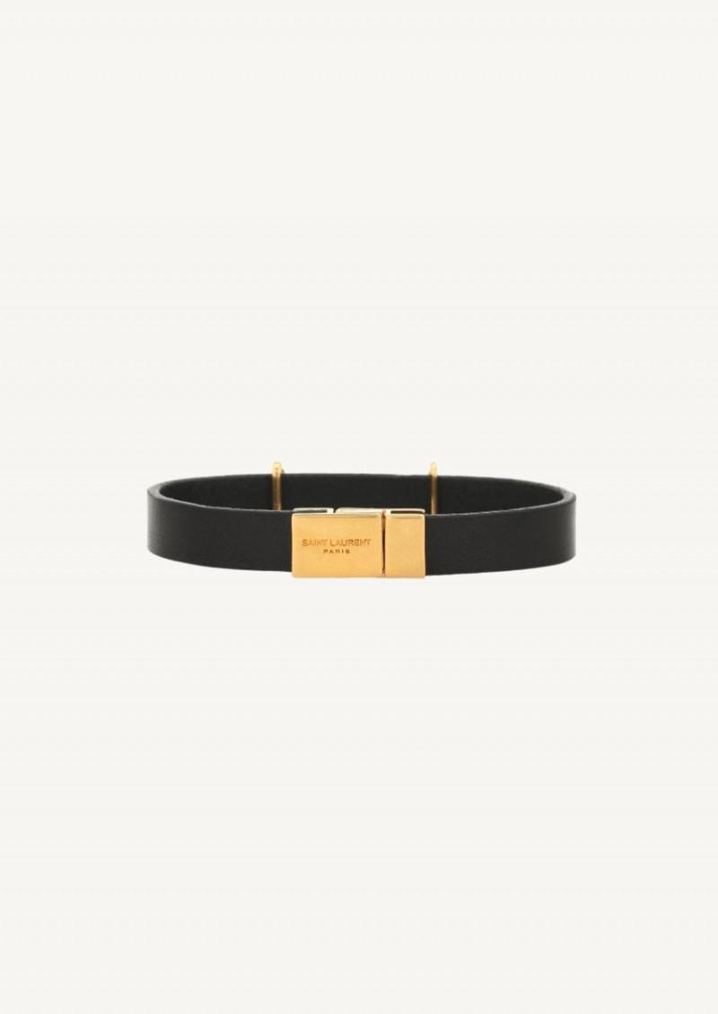 Opyum bracelet en cuir noir finition dorée
