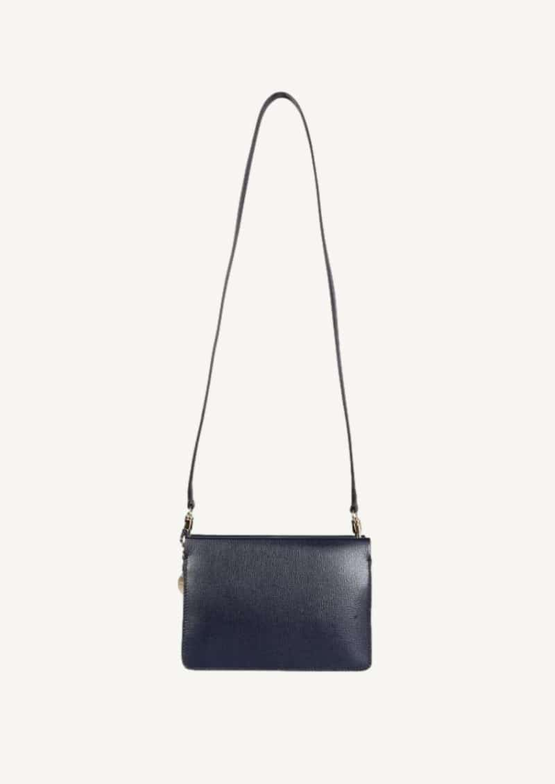 Navy blue Cross3 bag in textured leather and suede