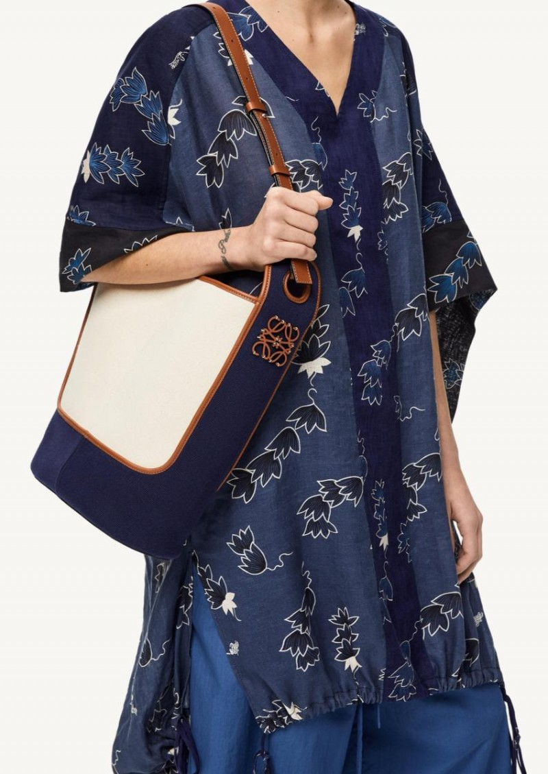 Navy and ecru Hobo bag in canvas and calfskin