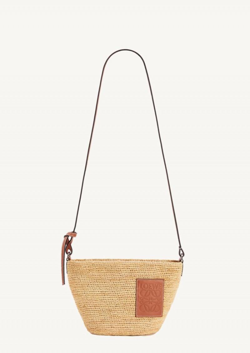 Pochette bag in raffia and calfskin