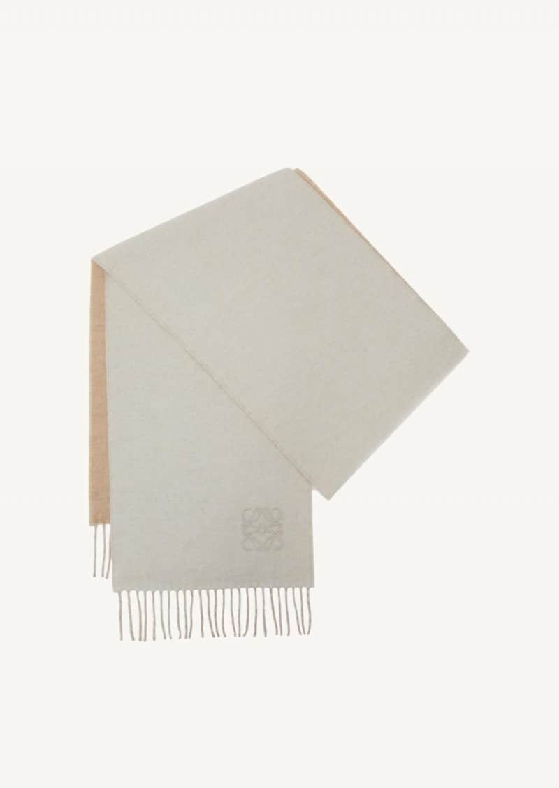 Ivory and sand two-tone wool and cashmere scarf