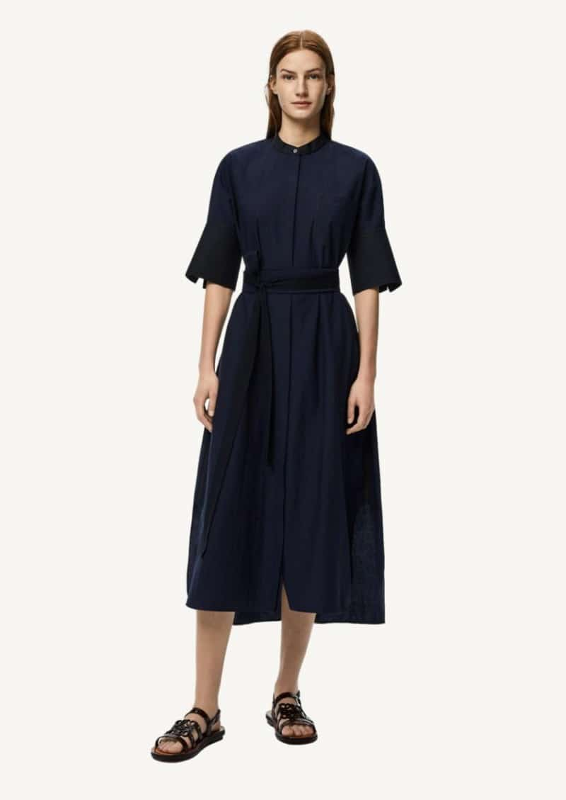 Black and navy blue belted midi shirt dress in cotton