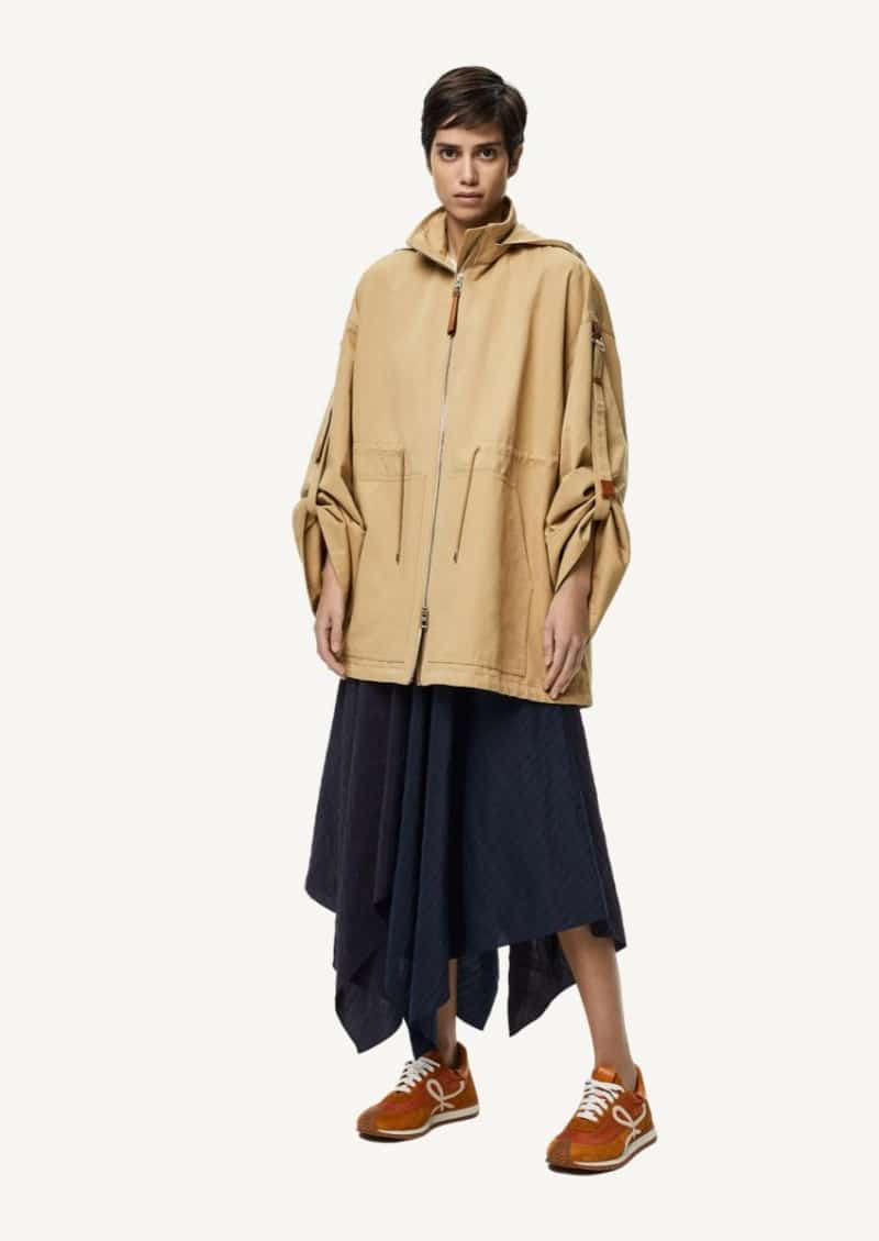 Beige hooded military parka in cotton and linen