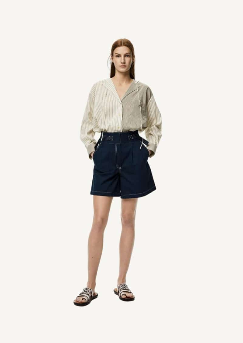 Navy blue belted cotton shorts