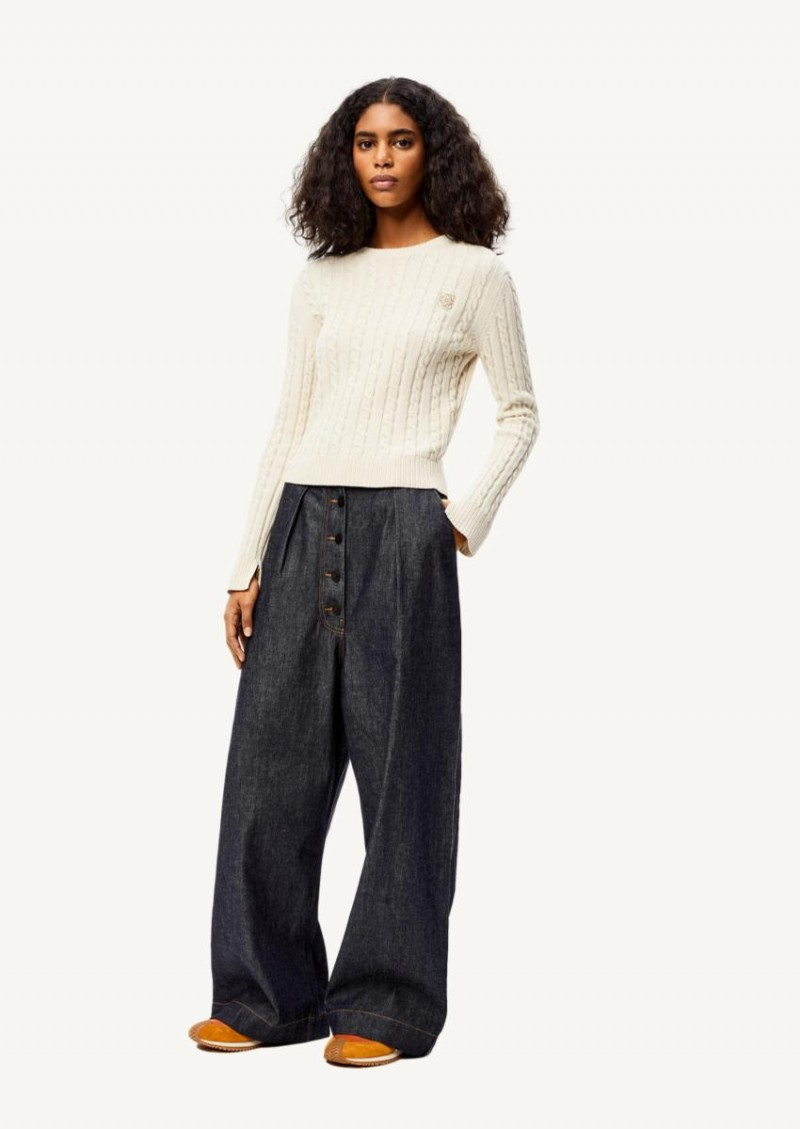Ecru cropped cable-knit sweater in wool and cotton