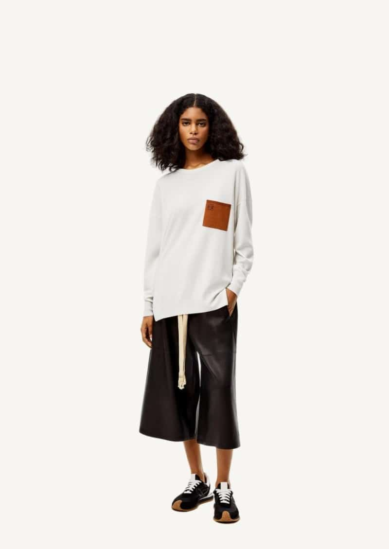 Ecru and brown Anagram pocket sweater in wool