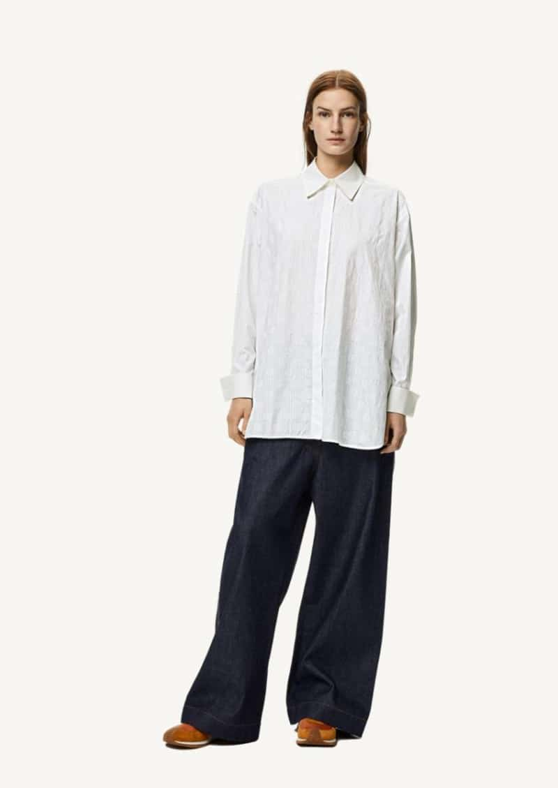 White oversized striped Anagram shirt in cotton