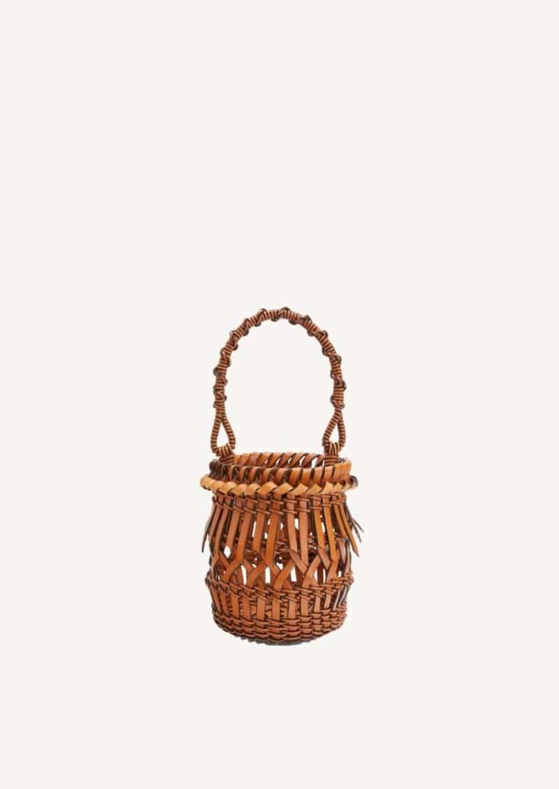 Tan small Franges bucket bag in calfskin