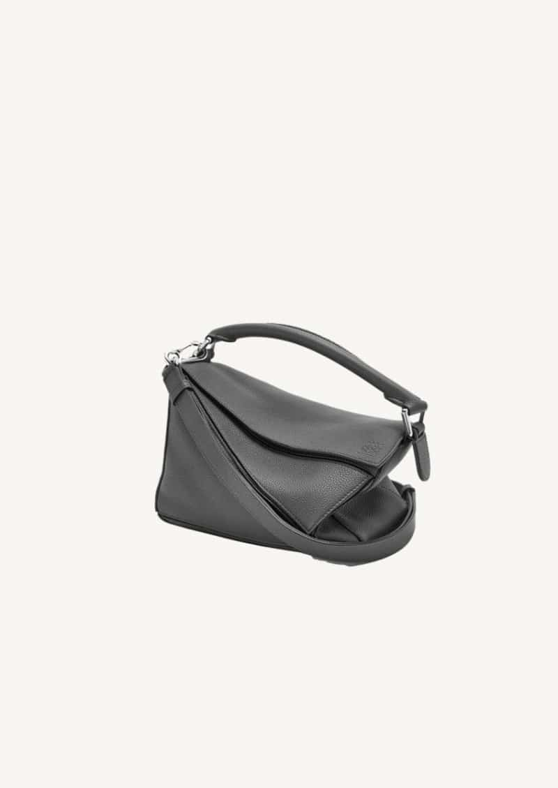 Anthracite small Puzzle bag in soft grained calfskin