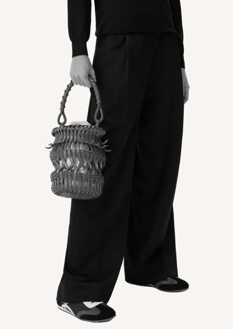 Tan calfskin fringed bucket bag