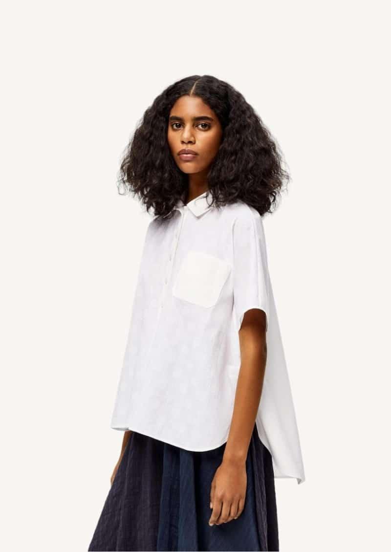 Chemise rayée à manches courtes Anagram en coton blanc
