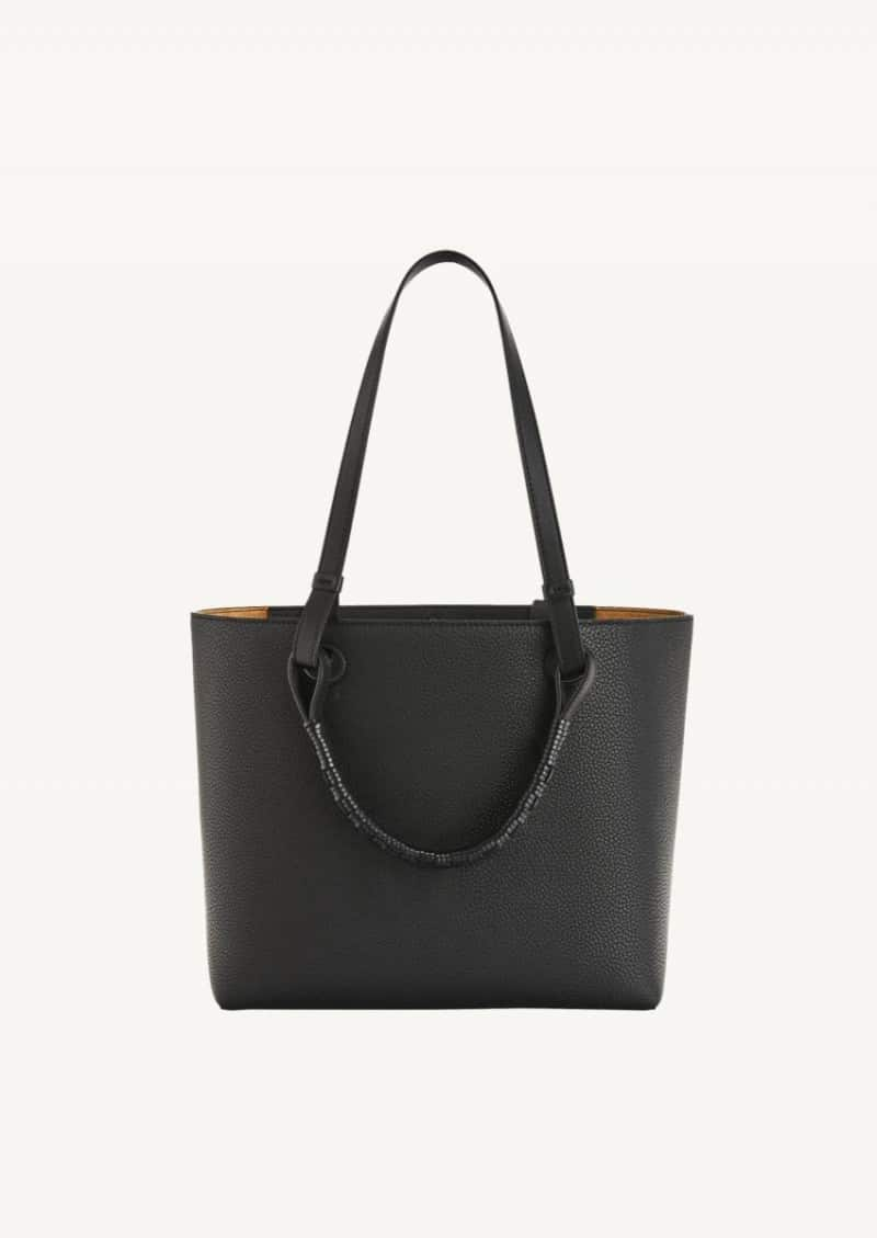 Black small Anagram tote in grained calfskin