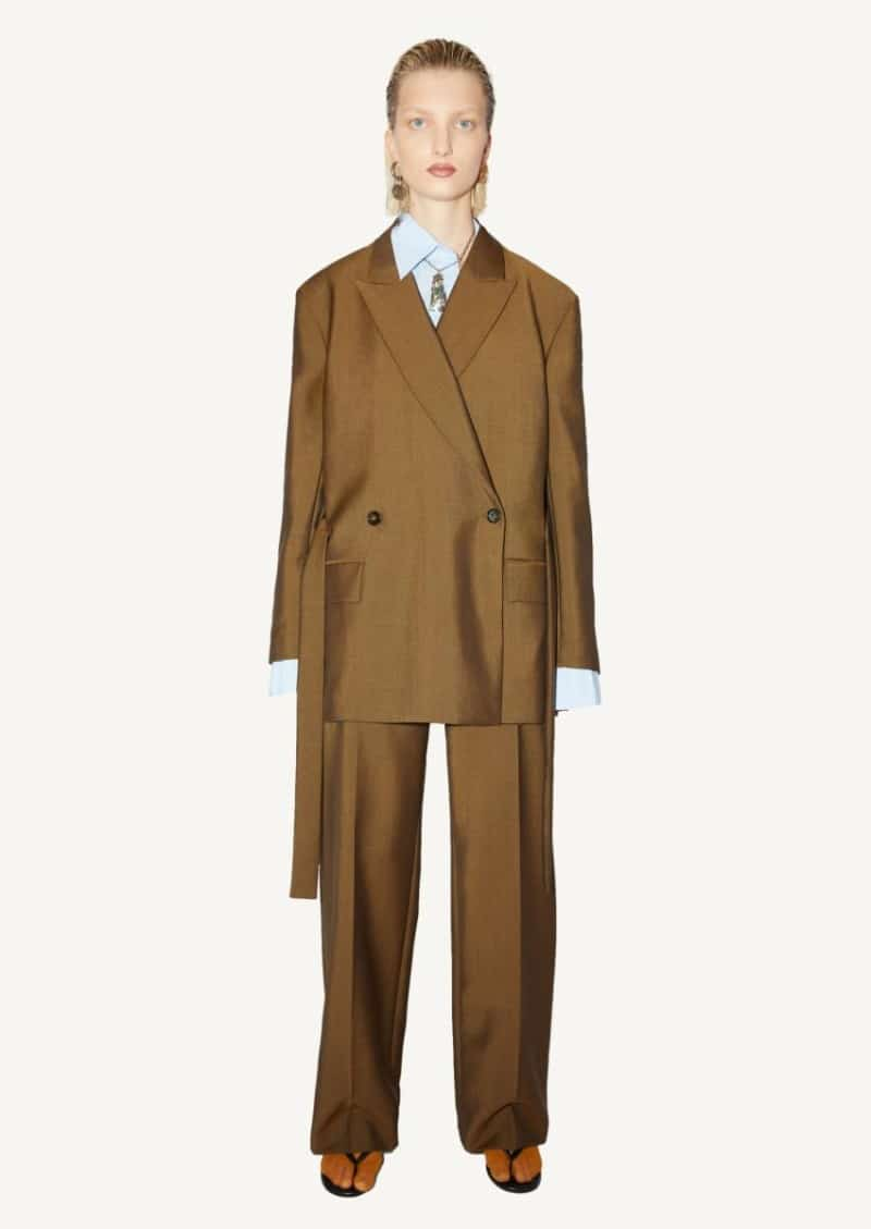 Cinnamon brown double-breasted belted jacket