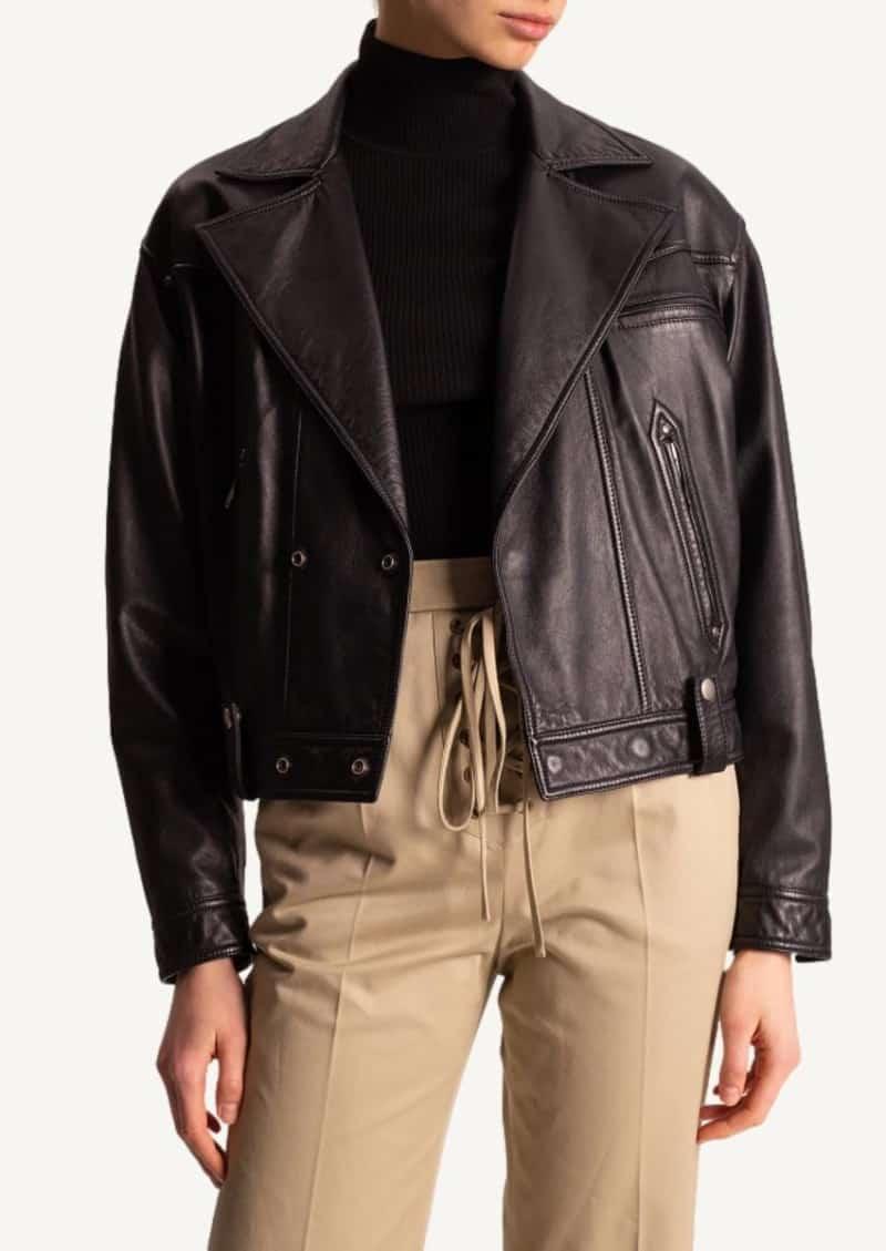 Blouson biker en cuir noir