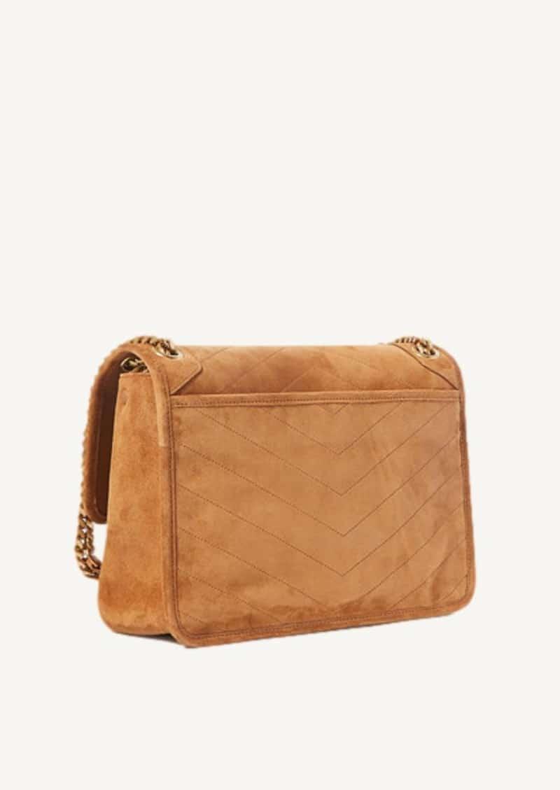 Cinnamon medium Niki bag in suede leather