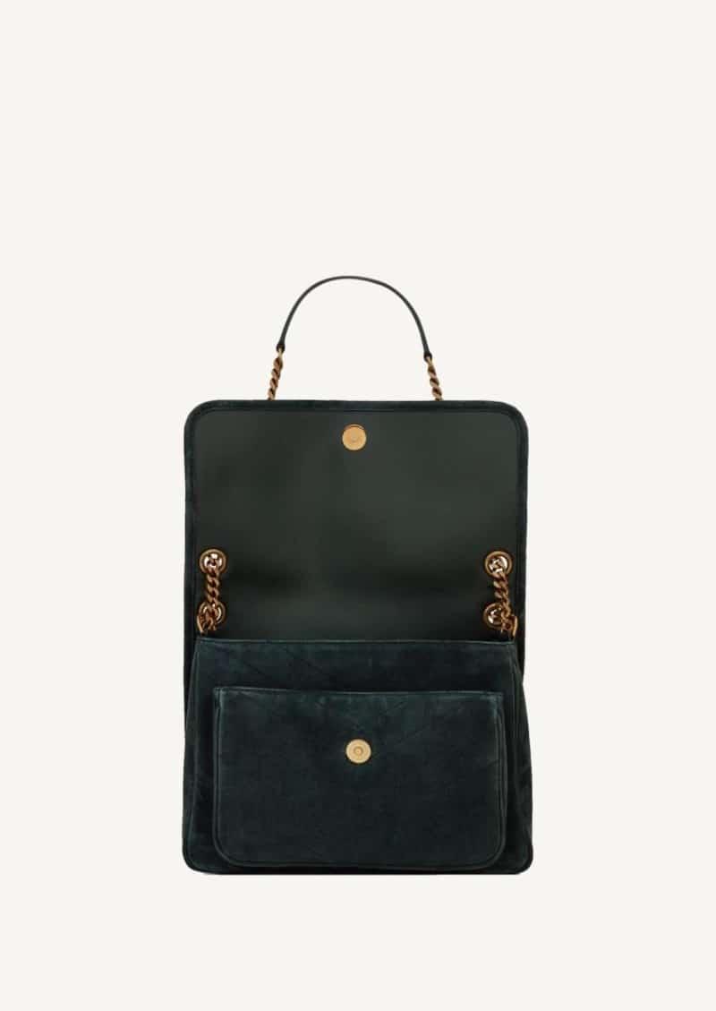 Algae medium Niki bag in suede leather
