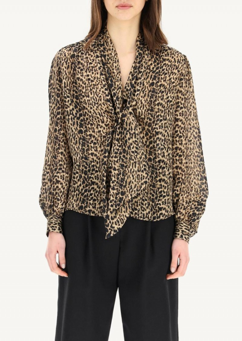 Blouse lavallière léopard