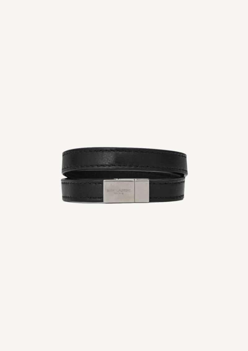 Bracelet double tour Opyum noir et argent