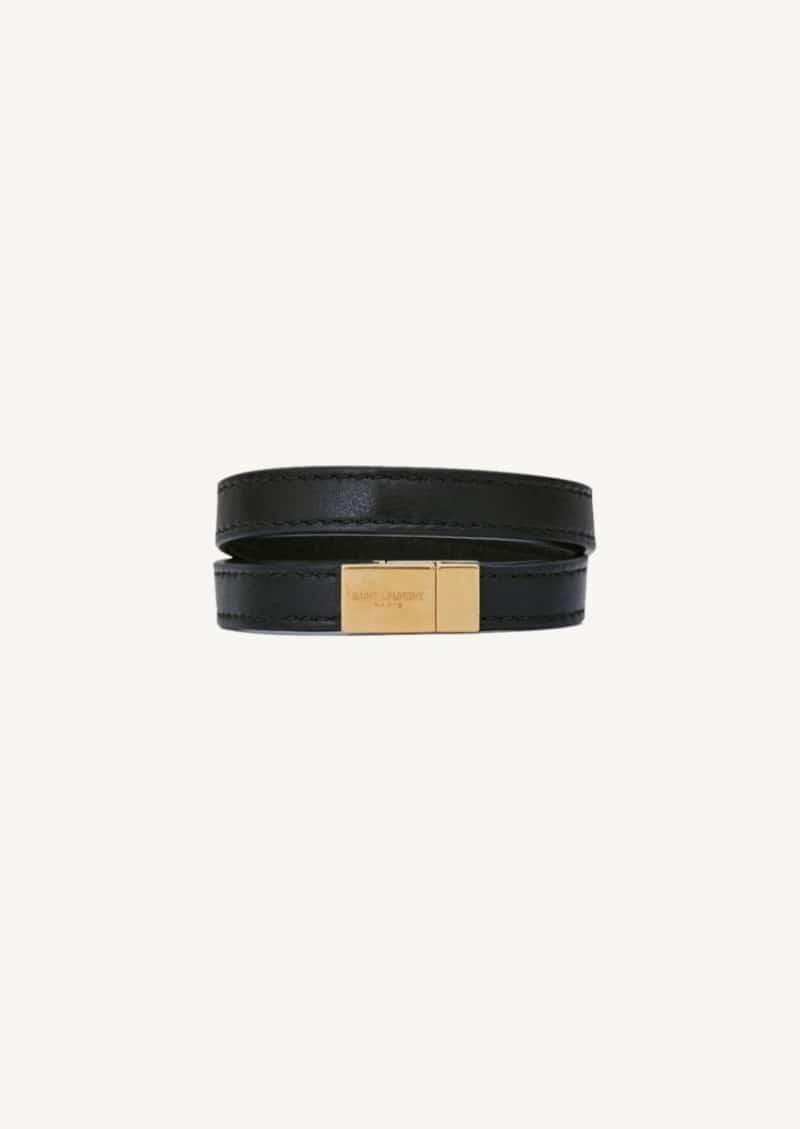 Bracelet double tour Opyum noir et or