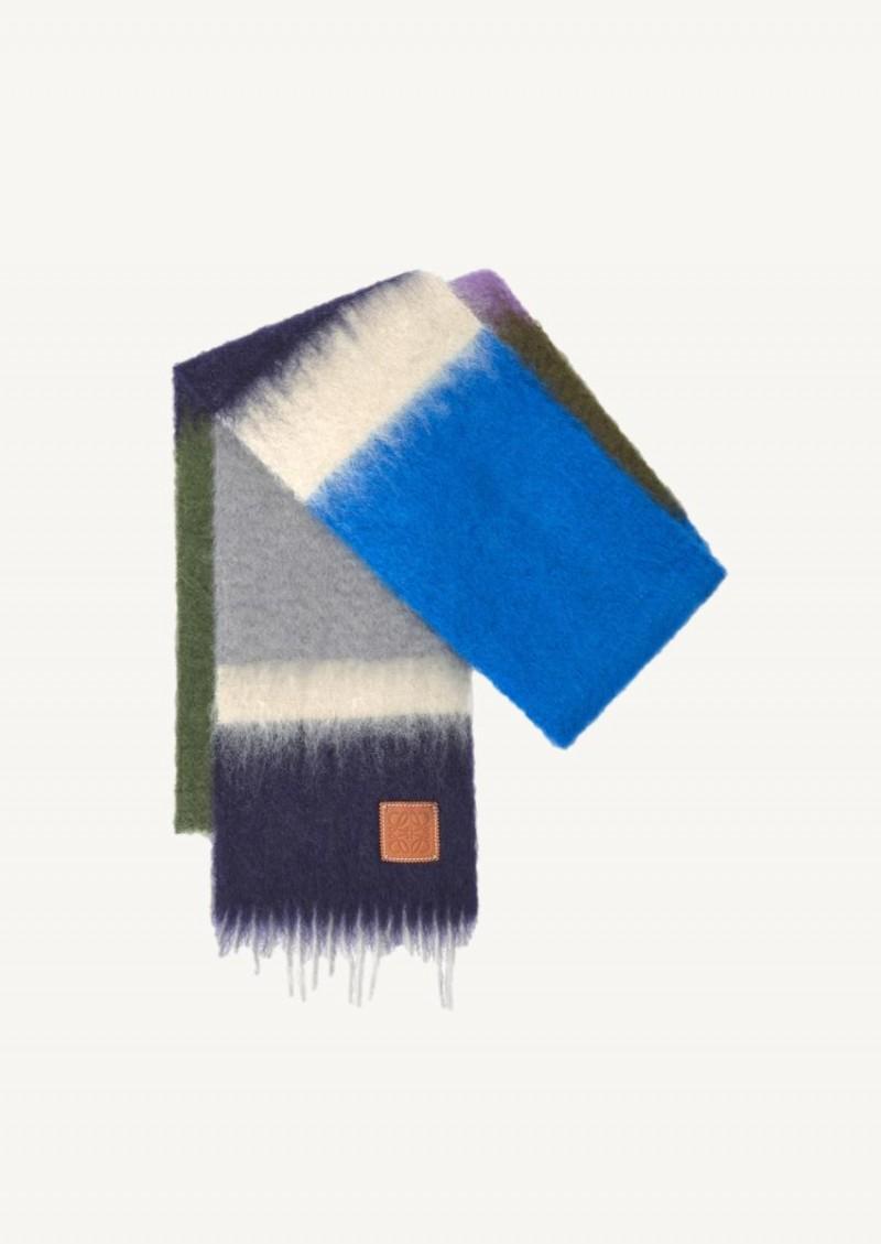 Echarpe à rayures en mohair gris et violet