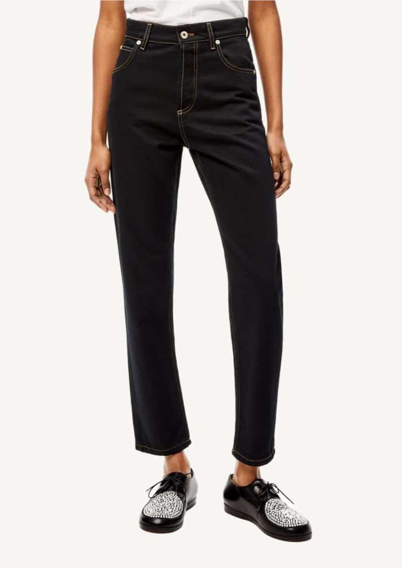 Black tapered Anagram pocket jeans in denim