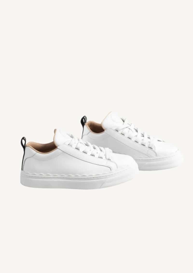 White Lauren low-top sneakers in leather