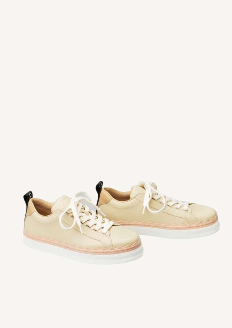 Pink tea Lauren low-top sneakers in leather